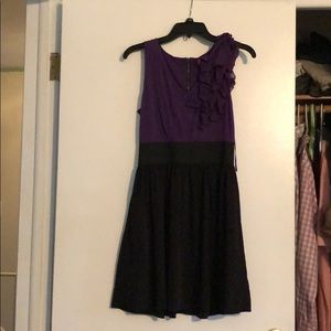 Purple and Black dress with a Ruffled Sleeve